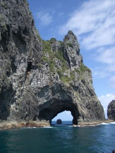 New Zealand, sea cave with boat