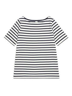 Arket Boat-Neck Striped Top White Tops, Blue And White, Dark Blue, Intelligent Agent, Only Fashion, Lower Case Letters, Who What Wear, Boat Neck, Minimalist Fashion