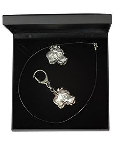 NEW, Dogo Argentino, dog keyring and necklace in casket, DELUXE set, limited edition, ArtDog * Details can be found by clicking on the image.