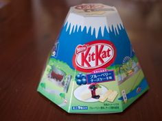 Mt Fuji shaped Kit Kat box. Blueberry Cheesecake Kit Kat