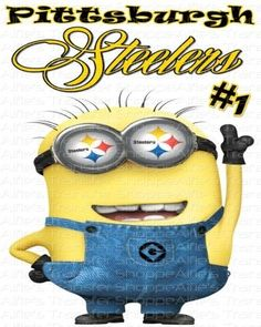 Pittsburgh Steelers w/ Minion - AFC North - Iron On Heat Transfer 8 x . Here We Go Steelers, Steelers Football, Football Fans, Steelers Stuff, Steelers Terrible Towel, Minion Characters, Steel Curtain, Pittsburgh Sports, Steeler Nation