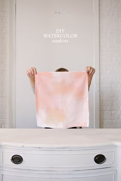 DIY Watercolor Napkins.