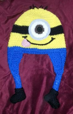Minion Hat with earflaps.  $50 includes shipping.