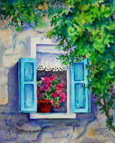 Watercolor of Window Blue Shutters Lace Curtain Pot of Pink Flowers by Martha Kisling