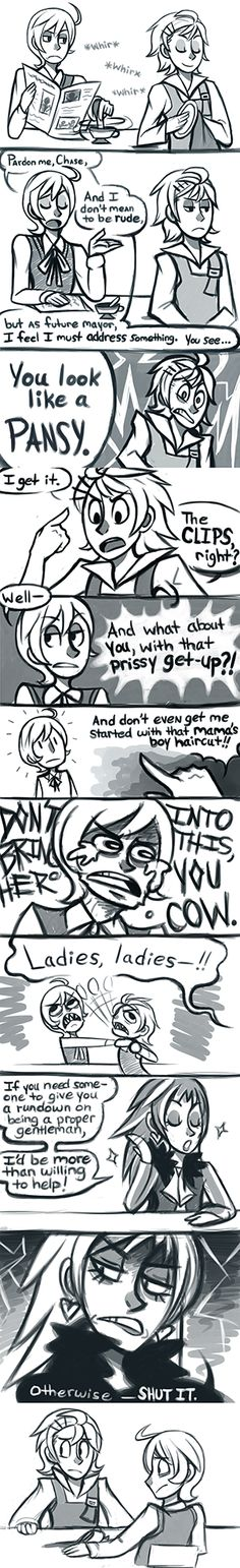 "HAHAHAHAHAAHAHA. JULIUS XD HAHAHAHAHA To be a man by ~cyber-seagull on deviantart ""DON'T BRING HER INTO THIS YOU COW"""