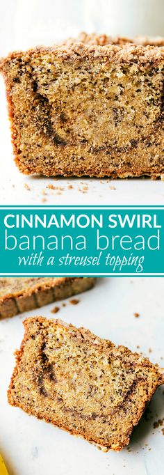 The BEST Banana Bread!! A delicious and easy to make cinnamon-swirled banana bread with a sugared streusel topping. Recipe via chelseasmessyapron.com