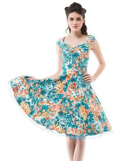 Can't get enough of these retro styles! 1950s Vintage Retro Cap Shoulder Party Swing Dress