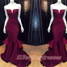 2016 Burgundy Prom Dresses,Mermaid Prom Gowns,Strapless Prom Dress,Sexy Evening Dresses http://21weddingdresses.storenvy.com/products/16036449-2016-burgundy-prom-dresses-mermaid-prom-gowns-strapless-prom-dress-sexy-even