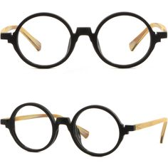 cc8c17223e9 Light Men Women Round Plastic Frames Vintage RX Glasses Wood Grain Texture  Black  Unbranded Wood