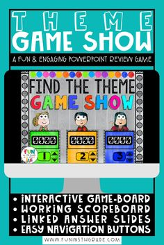 Finding Theme PowerPoint Interactive Game Show is the perfect whole class activity.  This reading activity is fun and engaging for upper elementary students!  Students will read passages and use reading strategies they've learning to determine the theme of the passage.  This PowerPoint game show has an interactive & working scoreboard, connected slides and easy navigation buttons. Main Idea Activities, Interactive Activities, Teaching Main Idea, Teaching Themes, Class Games, Music Class, Elementary Pe, Powerpoint Games, Review Games