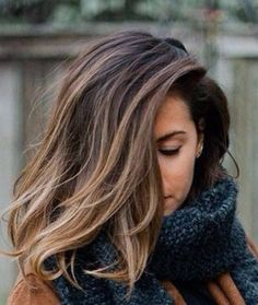 woman's head mostly covered by Brown Balayage colored hair
