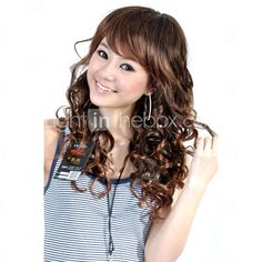 Capless Long High Quality Synthetic Brown Curly Hair Wig  Item ID #00184728