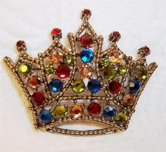 Weiss vintage crown rhinestone brooch