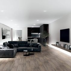 Baltic Oak Wood Effect Wall And Floor Tiles Manly Living Room, Dark Living Rooms, Condo Living, Living Room Modern, Living Room Designs, Living Room Ideas Modern Contemporary, Masculine Living Rooms, Living Room Wood Floor, Contemporary Apartment
