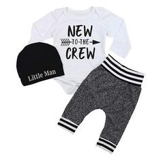Newborn Baby Boy Clothes New to The Crew Letter Print Romper+Long Pants+Hat Outfits Set ~ E Bazaarr Online Shopping Store Baby Outfits, Outfits With Hats, Romper Long Pants, Jumpsuits For Girls, Coming Home Outfit, Baby Boy Newborn, Baby Boys, Toddler Girls, Baby Girl Fashion