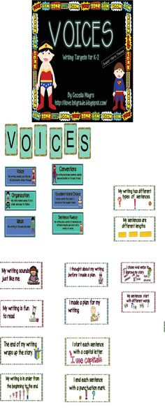 VOICES-Writing Targets for K-2-Superhero  31 pages for display in your classroom