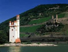 This is the Mouse Tower near Bingen, Germany.  A small castle built in the middle of the Rhein River.
