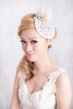 Stiffend lace hat with handmade flower trimming by beingoflove, $113.00