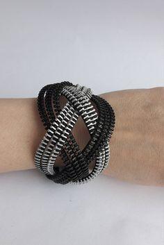 Black and white bracelet Knot bracelet Knotted bracelet Zipper