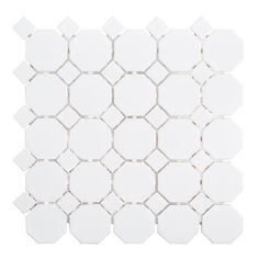 Jeffrey Court Retro Octagon White Dot in. x 6 mm Octagon Matte Porcelain Wall and Floor Mosaic - The Home Depot Mosaic Wall Tiles, Bathroom Floor Tiles, Marble Mosaic, Bathroom Cabinets, Ceramic Floor Tiles, Kitchen Tile, Kitchen Reno, Bathroom Wall, Modern Bathroom