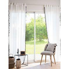 White Cotton Tab-Top Curtain with Black Tassels 105 x 250 cm   Maisons du Monde