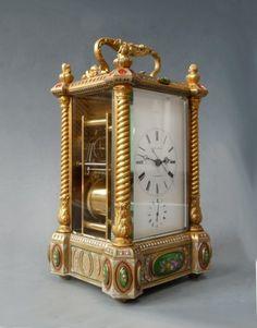 Exceptional French carriage clock, enamel decorations, Bovet Frères à Fleurier, circa 1870. - Antiques   ArtListings