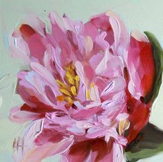 Pink Peony no. 4 original floral oil painting by moulton 5 x 5 inches on panel  prattcreekart