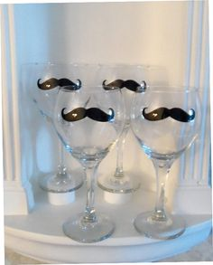 Mustache Wine Glasses    Set of Four Glasses  by YouniquelyElegant, $32.00