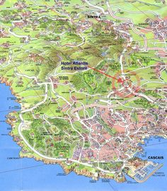 Sintra Map Tourist Attractions Travel Portugal Lisbon - Portugal hiking map
