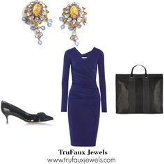 """""""Wearing Statement Earrings to the Office"""": This purple sheath provides colorful grounding for the main event in this office outfit -- the art glass and crystal dangling 1950s earrings in yellow, lavender and blue."""
