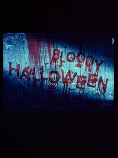 """PSYWORK Schwarzlicht Stoffposter Neon """"Bloody Halloween""""   #blacklight #schwarzlicht #halloween #party #deco #glowinthedark #fluo #psy #halloween2017"""