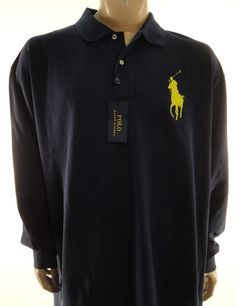 POLO RALPH LAUREN NEW $110 BLUE BIG YELLOW PONY LONG SLEEVE SHIRT sz 4XB #PoloRalphLauren #PoloRugby