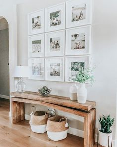 modern farmhouse foyer design with rustic bench and wall gallery, neutral farmhouse hallway d. modern farmhouse foyer design with rustic bench and wall gallery, neutral farmhouse hallway decor, fixer upper bench and. Hallway Decorating, Entryway Decor, Entryway Ideas, Hallway Ideas, Entryway Flooring, Hallway Wall Decor, Hallway Walls, White Wall Decor, Decorating With White Walls