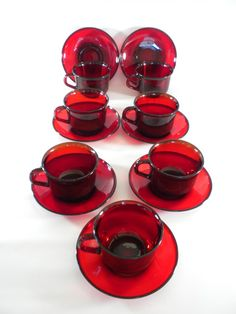 Ruby Red Coffee Cups Arcoroc France Glass Red Coffee by oldandnew8, $38.00