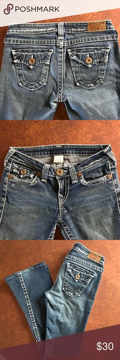 """True Religion Joey Heritage Twisted Seam 28 True Religion Joey Heritage Twisted Seam 28. Inseam 32"""" these have been hemmed and you can see in pictures they aren't perfect just a quick hem. Rise is 8"""" 28"""" waist in good condition. Flap pockets 99% cotton 1% elastin or spandex style# w102387ED  please refer to pictures True Religion Jeans Flare & Wide Leg"""