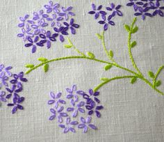 Vintage Hand Embroidered Lilacs Linen Tablecloth by FeltersCottage, £6.00