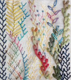 Feather stitch sample using silk, cotton and knitting yarns. embroidery by merkusje (flickr) #sewing