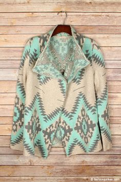 Mint Aztec Cardigan – Miss Scarlett Fall Outfits, Cute Outfits, Fashion Outfits, Fashion Clothes, Christmas Cardigan, Cozy Christmas, Mint Cardigan, Tribal Print Cardigan, Grey And Beige