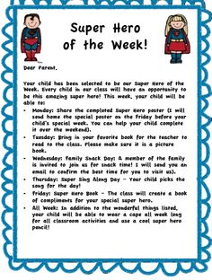 Climbing the Monkey Bars: Super Hero of the Week! (like some of the daily activities! First Grade Classroom, Kindergarten Classroom, Future Classroom, Classroom Themes, School Classroom, Superhero School Theme, School Themes, Student Of The Week, Star Of The Week