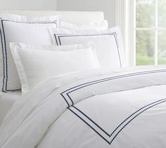 Pearl Embroidered Duvet Cover, Full/Queen, Twilight Blue