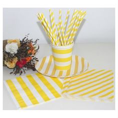 Wholesale Yellow and White Paper Straws