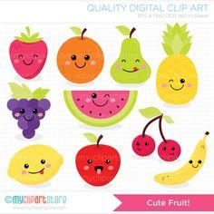 Clipart  schattige Fruit / Kawaii Fruit Clipart  digitale