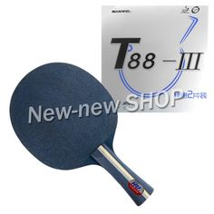 HRT Blue Crystal Blade with 2 Pcs Sanwei T88-III Rubbers with Sponge for Ping Pong Racket Paddle Shakehand Long Handle FL #Affiliate