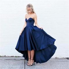Tea Length Blue Strapless Party Dress,Satin Prom Dress With High Low Skirt
