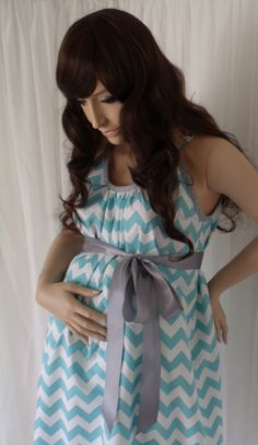 Aqua blue chevron hospital gown for labor and delivery or as a nursing gown in the hospital or at home.