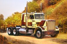 """Peterbilt 359 1977 vintage conventional tractor w/ 36"""" sleeper 17"""" x 24"""" Classic truck poster"""