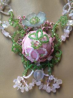 "Necklace "" Rozalita"" made od murano beads, Swarovski crystal, rose quartz,aventurine.. Very romantic :-)"