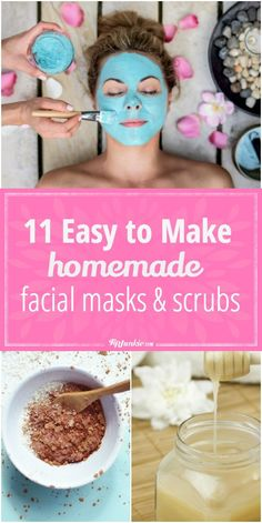 11 Easy to Make Homemade Facial Masks and Scrubs is part of Homemade facial mask - How to make homemade face mask recipes and homemade facial scrub for a clean face and good skin at any age! These homemade facial skin care recipes include… Homemade Facial Mask, Homemade Skin Care, How To Make Homemade, Homemade Beauty, Homemade Masks, Homemade Facials For Acne, Homemade Peel Off Mask, Facemasks Homemade, Face Scrub Homemade