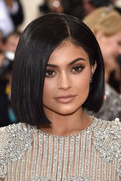 Kylie Jenner with a blunt bob, matte lips, and bold brows at the 2016 Met Gala