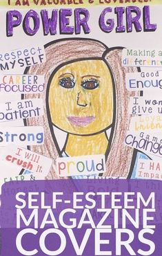Magazine cover craft for girl's self-esteem building. Focuses on growth mindset, character, and inner beauty in groups or individual therapy. therapy activities for teens Create Your Own Magazine Cover Collage Craft for Girl's Self Esteem Self Esteem Activities, Counseling Activities, Art Therapy Activities, Group Counseling, Self Esteem Crafts, Counseling Office, Elementary School Counseling, School Social Work, School Counselor